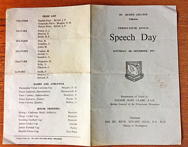Speech Day programme