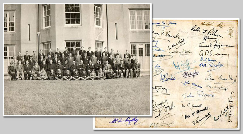 Whole School 1955 and signatures
